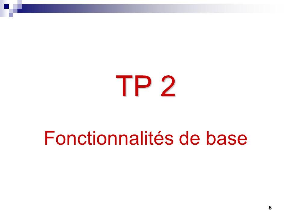TP 2 Fonctionnalités de base