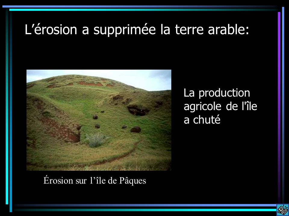 L'érosion a supprimée la terre arable: