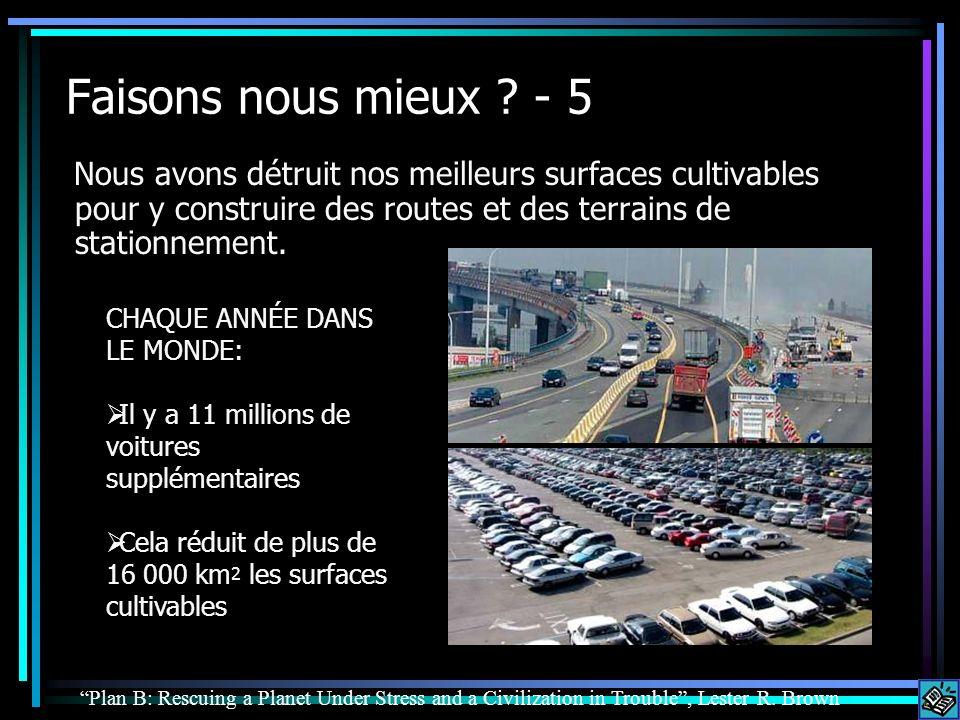 Faisons nous mieux - 5 Nous avons détruit nos meilleurs surfaces cultivables pour y construire des routes et des terrains de stationnement.