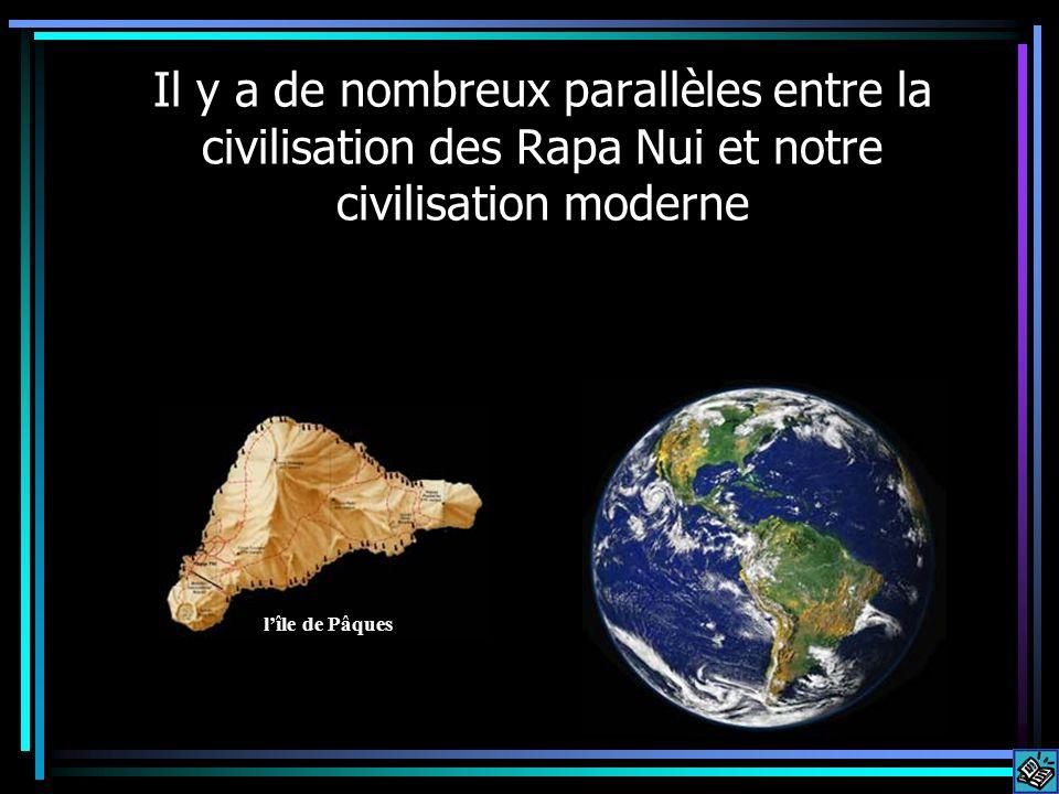 Il y a de nombreux parallèles entre la civilisation des Rapa Nui et notre civilisation moderne