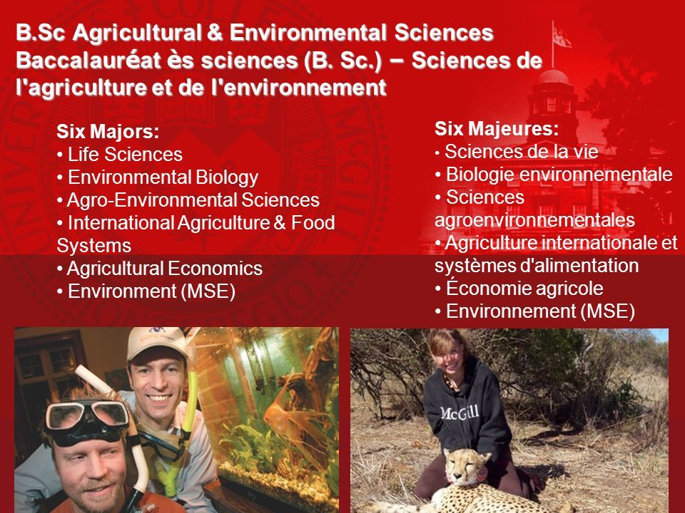 B.Sc Agricultural & Environmental Sciences Baccalauréat ès sciences (B. Sc.) – Sciences de l agriculture et de l environnement