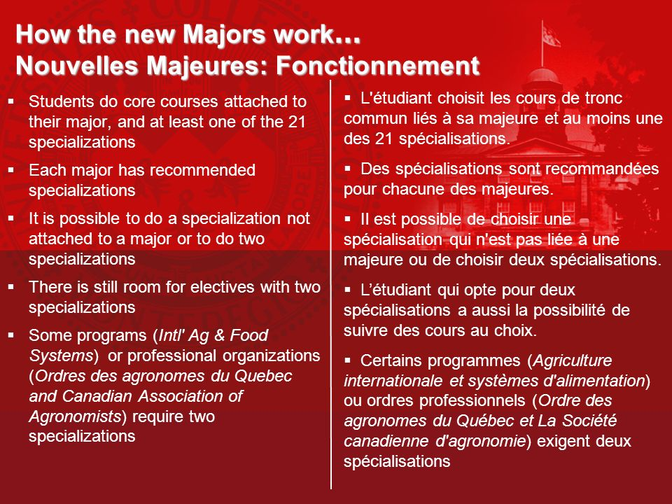 How the new Majors work… Nouvelles Majeures: Fonctionnement