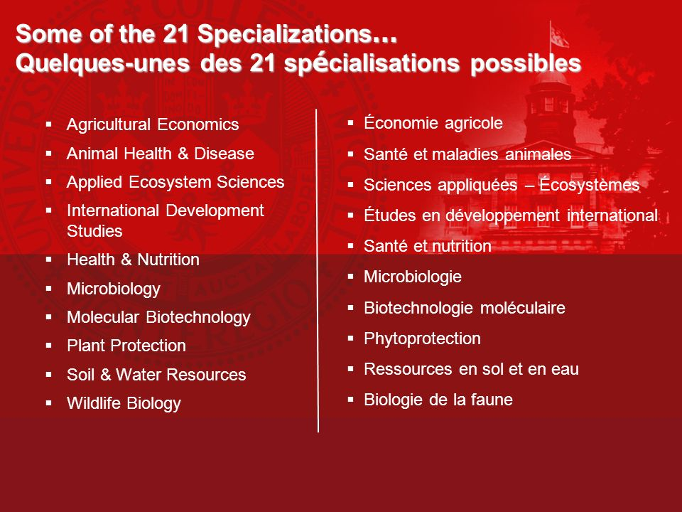 Some of the 21 Specializations… Quelques-unes des 21 spécialisations possibles