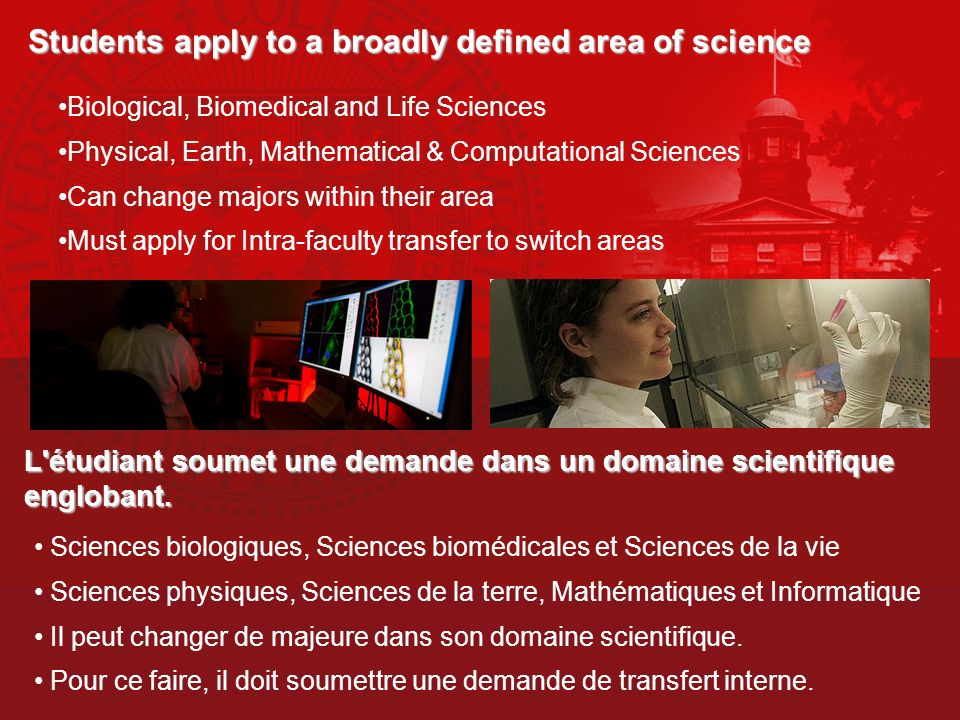 Students apply to a broadly defined area of science