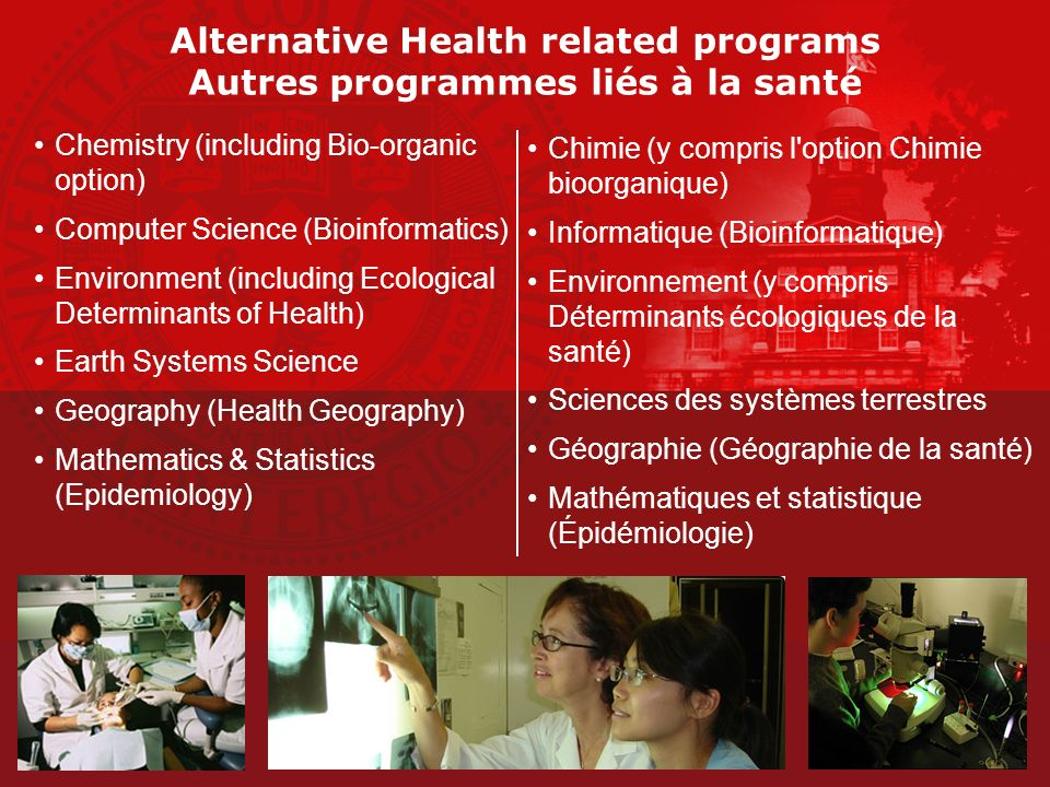 Alternative Health related programs Autres programmes liés à la santé