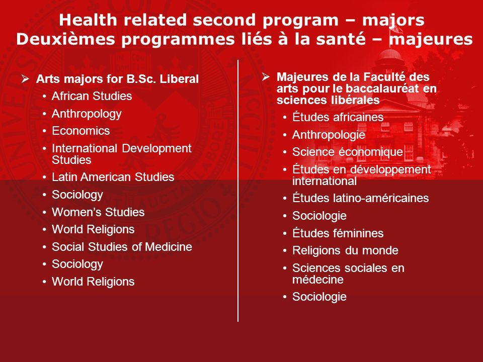 Health related second program – majors Deuxièmes programmes liés à la santé – majeures
