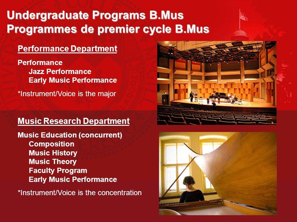 Undergraduate Programs B.Mus Programmes de premier cycle B.Mus