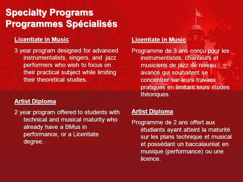 Specialty Programs Programmes Spécialisés