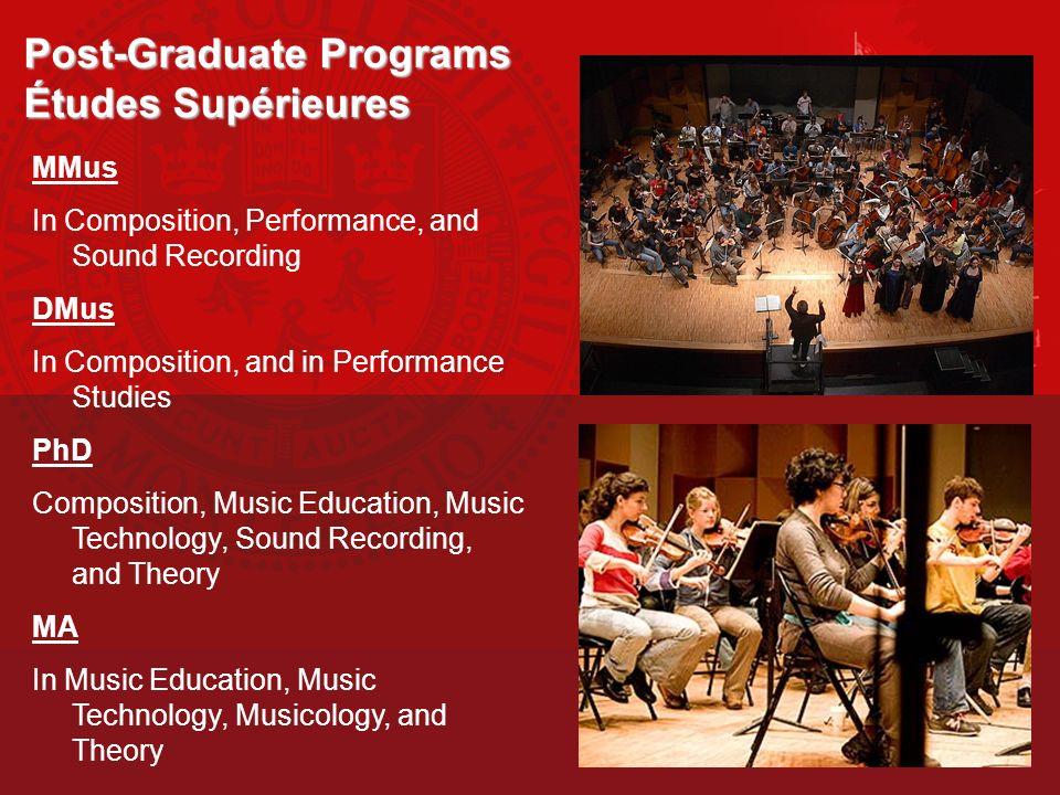 Post-Graduate Programs Études Supérieures