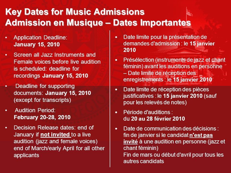 Key Dates for Music Admissions Admission en Musique – Dates Importantes