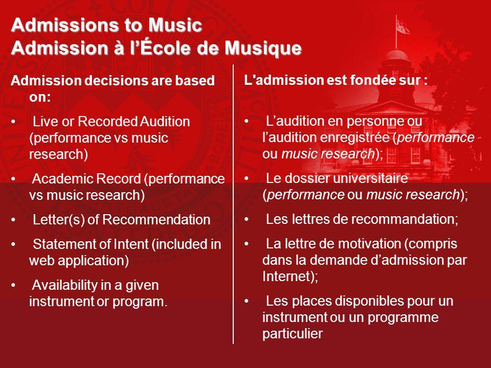 Admissions to Music Admission à l'École de Musique