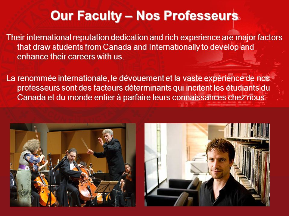Our Faculty – Nos Professeurs