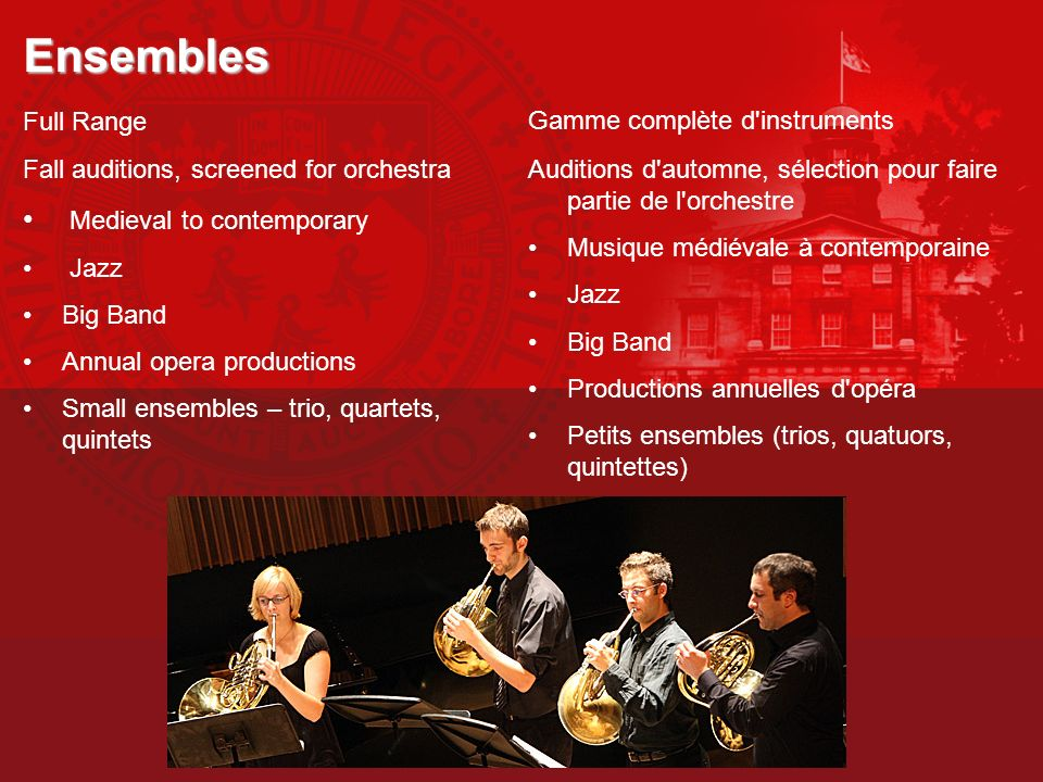Ensembles Medieval to contemporary Full Range