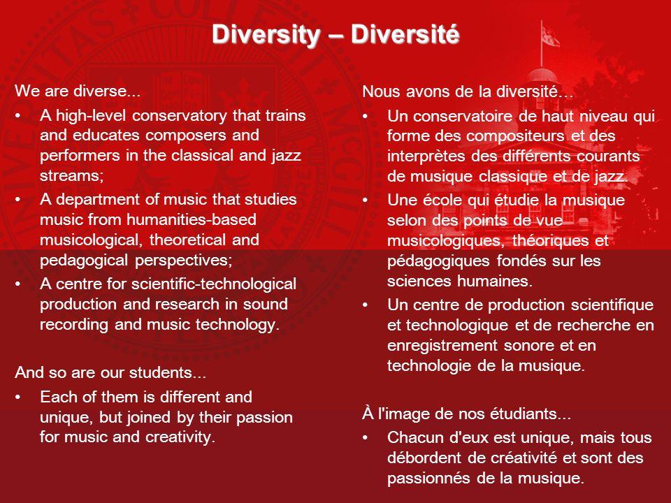 Diversity – Diversité We are diverse... Nous avons de la diversité…