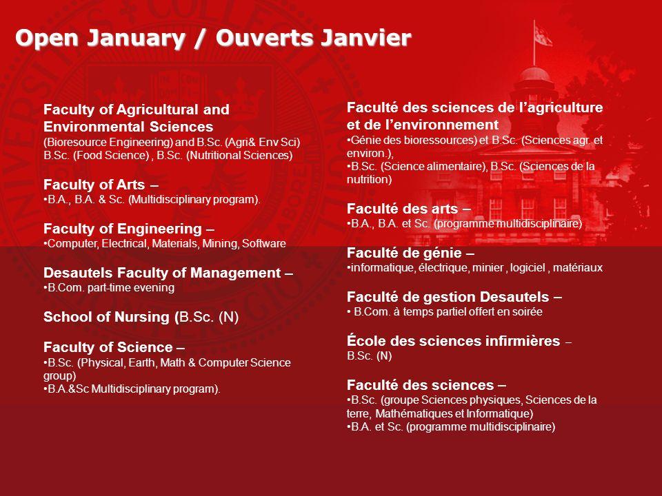 Open January / Ouverts Janvier