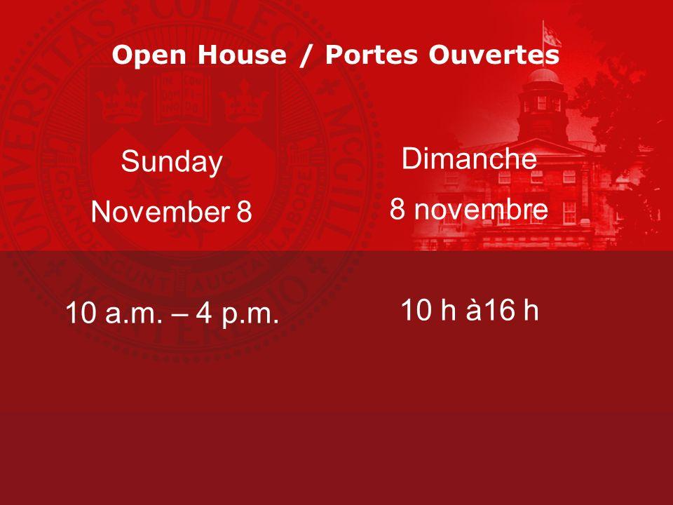 Open House / Portes Ouvertes