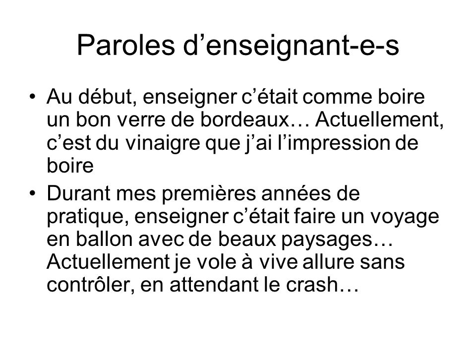 Paroles d'enseignant-e-s