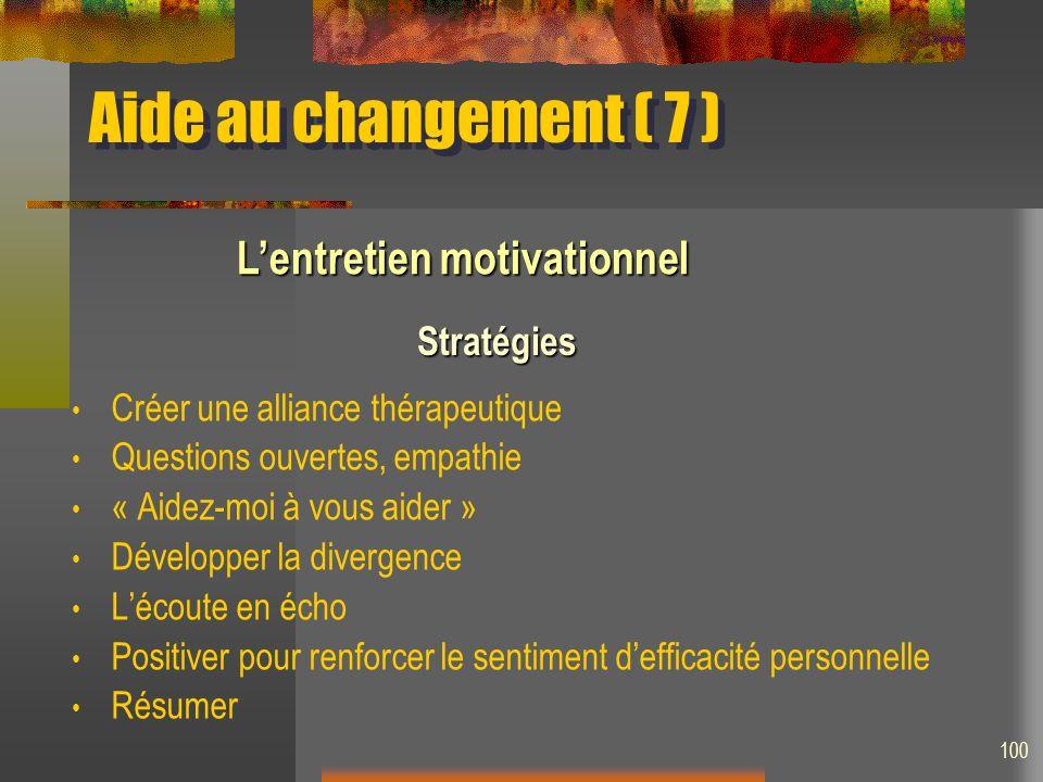 Aide au changement ( 7 ) L'entretien motivationnel Stratégies