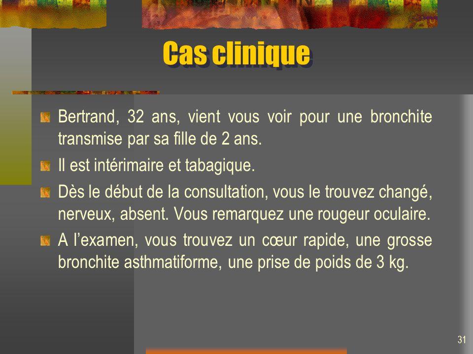 Cas clinique Bertrand, 32 ans, vient vous voir pour une bronchite transmise par sa fille de 2 ans. Il est intérimaire et tabagique.