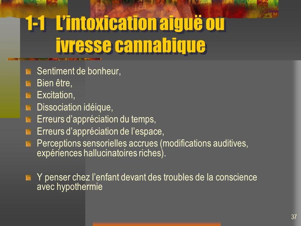 1-1 L'intoxication aiguë ou ivresse cannabique