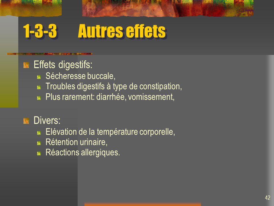 1-3-3 Autres effets Effets digestifs: Divers: Sécheresse buccale,