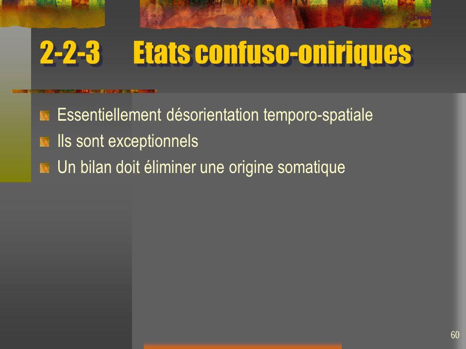 2-2-3 Etats confuso-oniriques