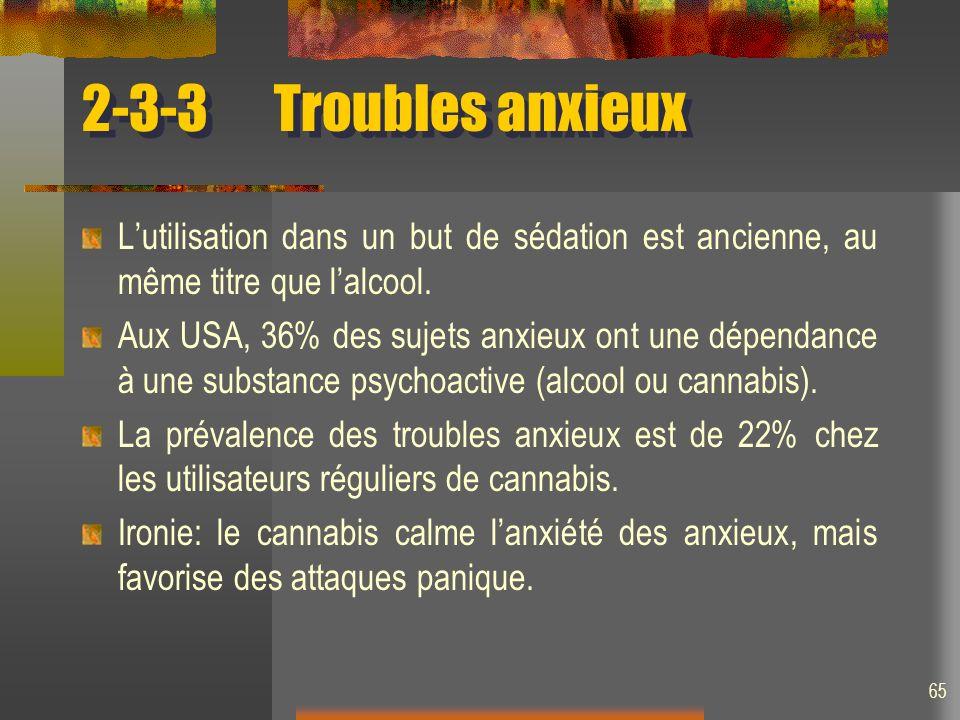 2-3-3 Troubles anxieux L'utilisation dans un but de sédation est ancienne, au même titre que l'alcool.