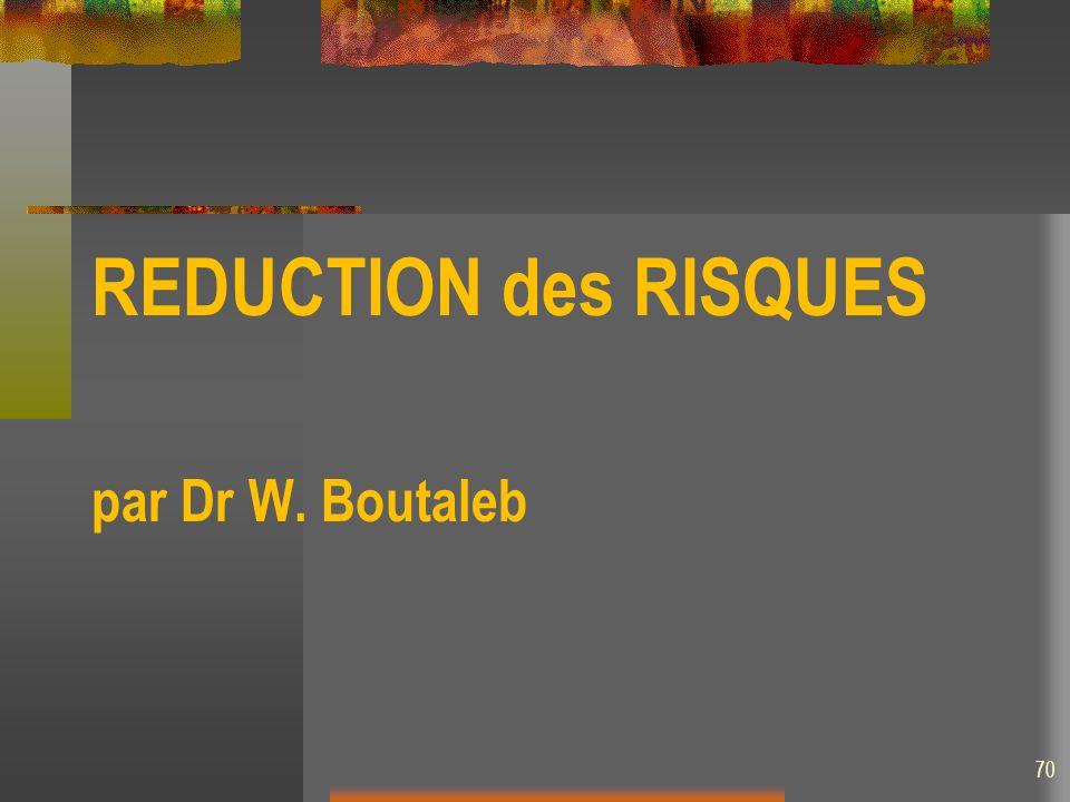 REDUCTION des RISQUES par Dr W. Boutaleb