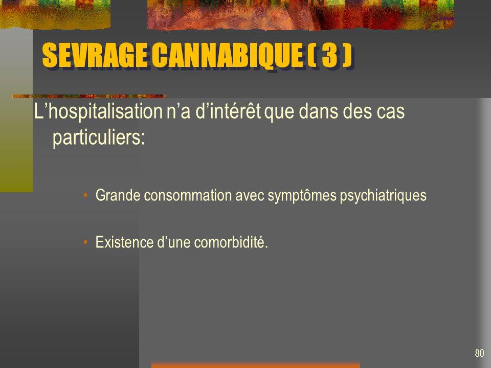 SEVRAGE CANNABIQUE ( 3 ) L'hospitalisation n'a d'intérêt que dans des cas particuliers: Grande consommation avec symptômes psychiatriques.