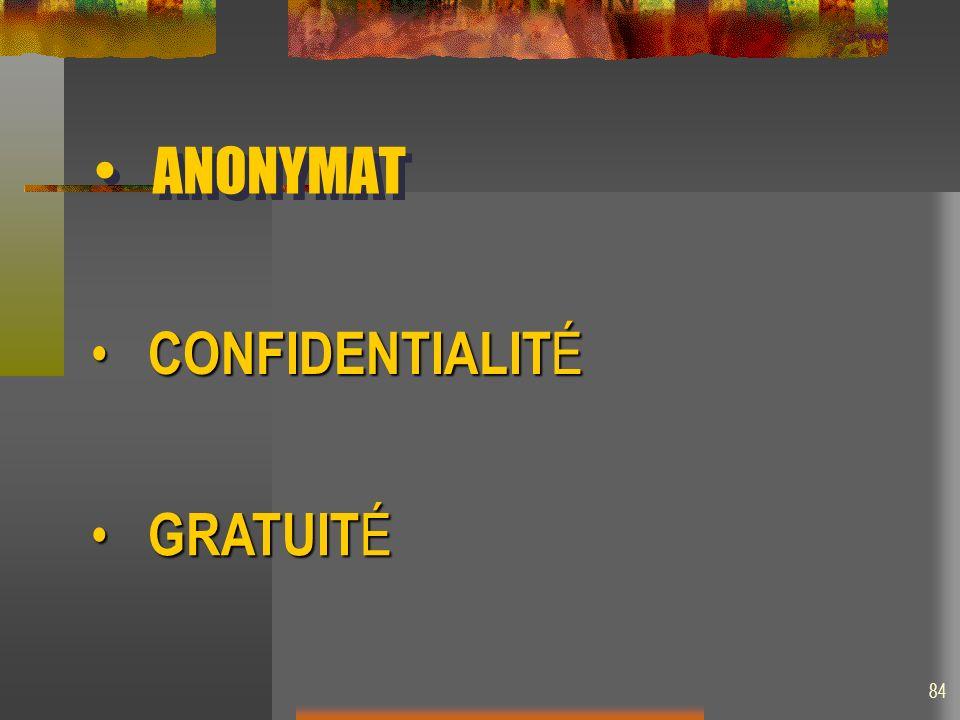 ANONYMAT CONFIDENTIALITÉ GRATUITÉ