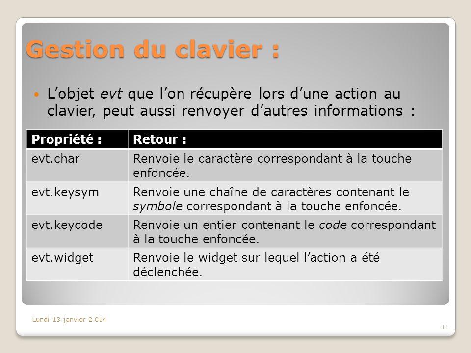 Gestion du clavier : L'objet evt que l'on récupère lors d'une action au clavier, peut aussi renvoyer d'autres informations :