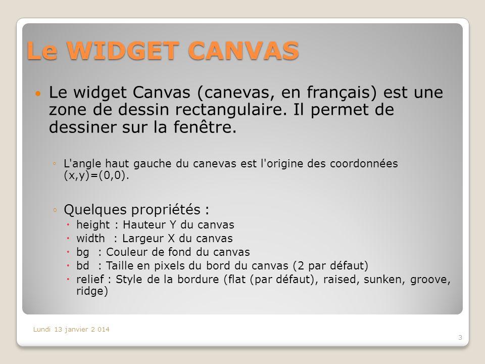Le WIDGET CANVAS Le widget Canvas (canevas, en français) est une zone de dessin rectangulaire. Il permet de dessiner sur la fenêtre.