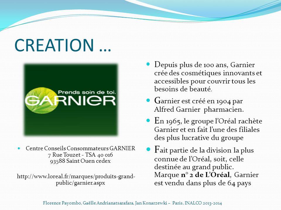 CREATION … Centre Conseils Consommateurs GARNIER 7 Rue Touzet - TSA 40 016 93588 Saint Ouen cedex.