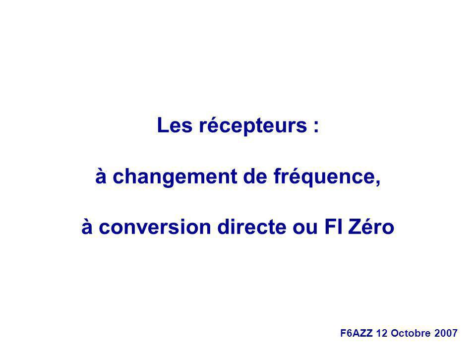 à changement de fréquence, à conversion directe ou FI Zéro