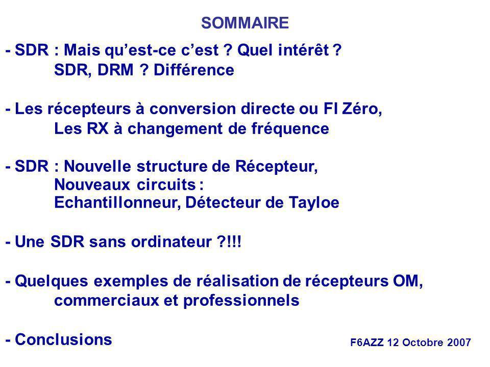 - Les récepteurs à conversion directe ou FI Zéro,