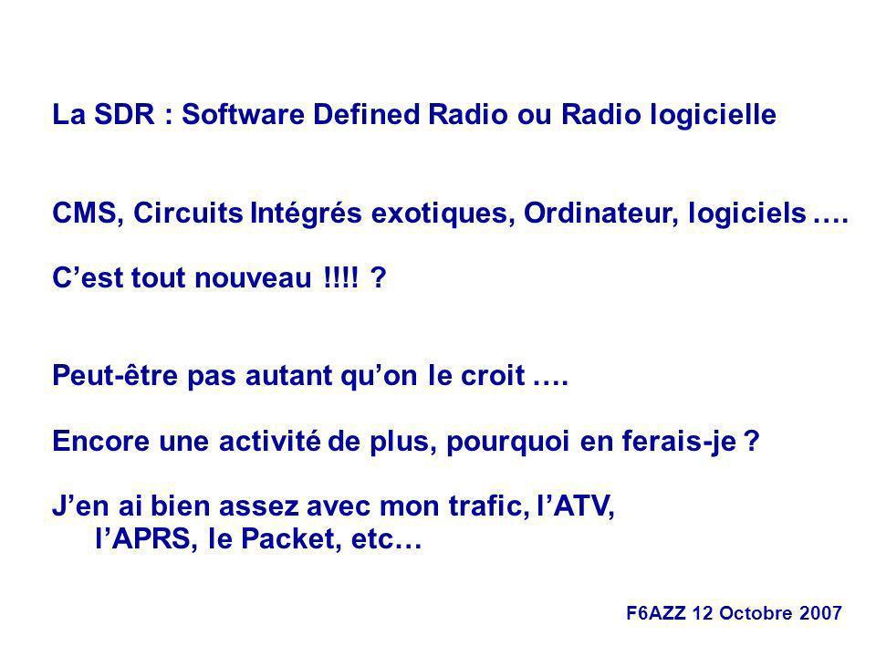 La SDR : Software Defined Radio ou Radio logicielle
