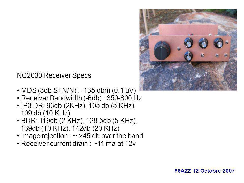 NC2030 Receiver Specs • MDS (3db S+N/N) : -135 dbm (0.1 uV) • Receiver Bandwidth (-6db) : 350-800 Hz.