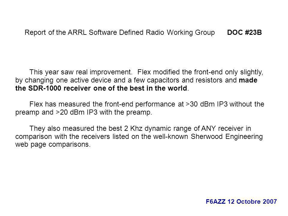 Report of the ARRL Software Defined Radio Working Group DOC #23B