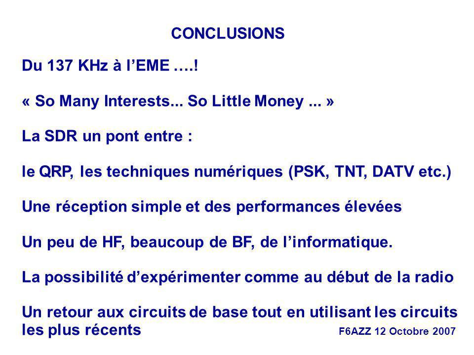 CONCLUSIONS Du 137 KHz à l'EME ….! « So Many Interests... So Little Money ... » La SDR un pont entre :