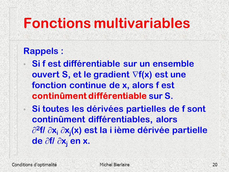 Fonctions multivariables