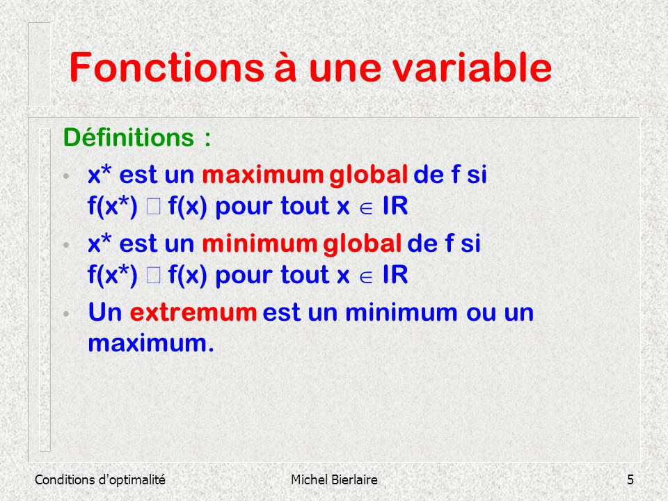 Fonctions à une variable