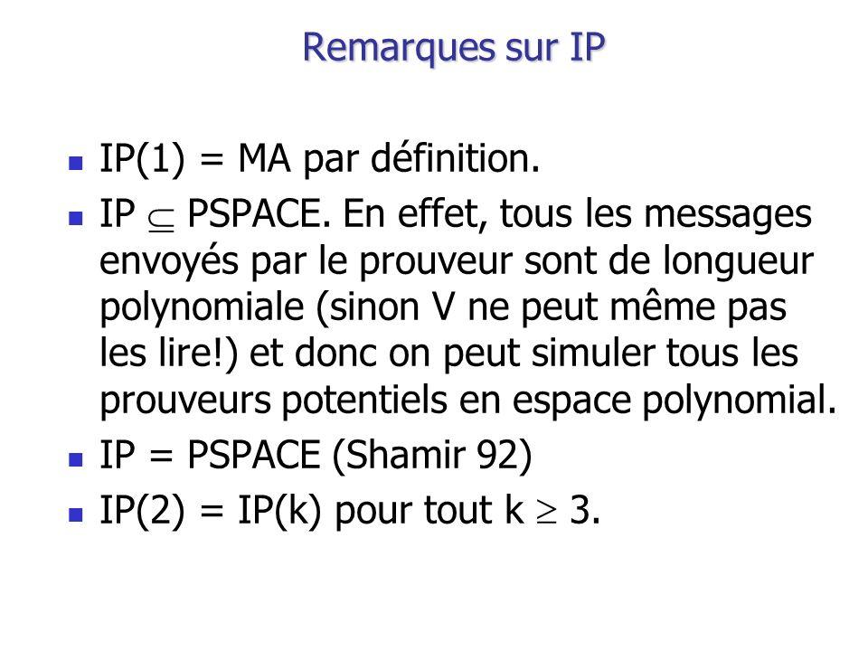 Remarques sur IP IP(1) = MA par définition.