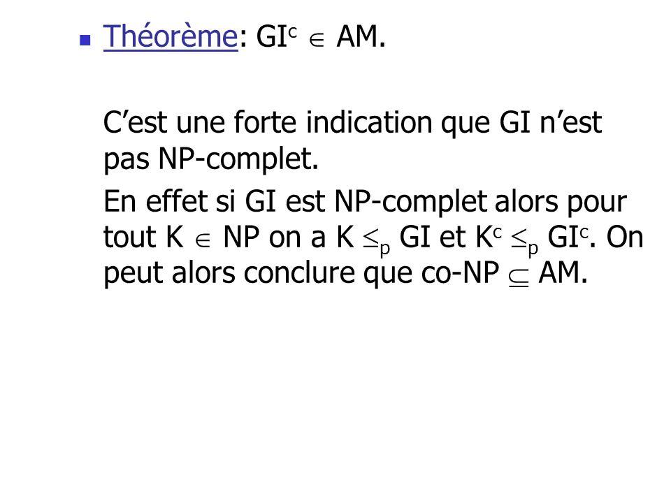 Théorème: GIc  AM. C'est une forte indication que GI n'est pas NP-complet.