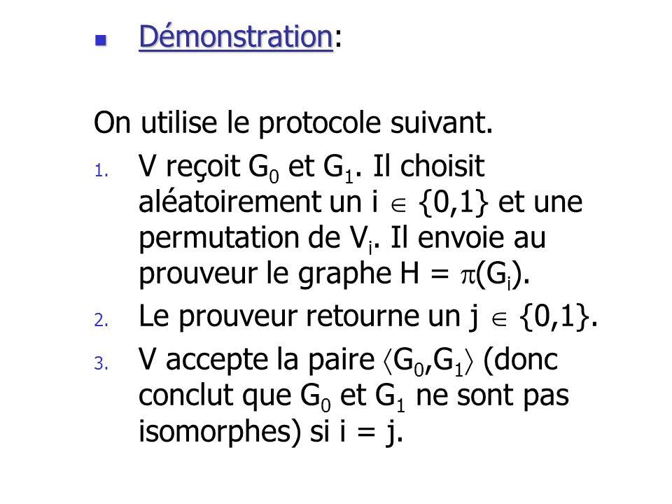 Démonstration: On utilise le protocole suivant.