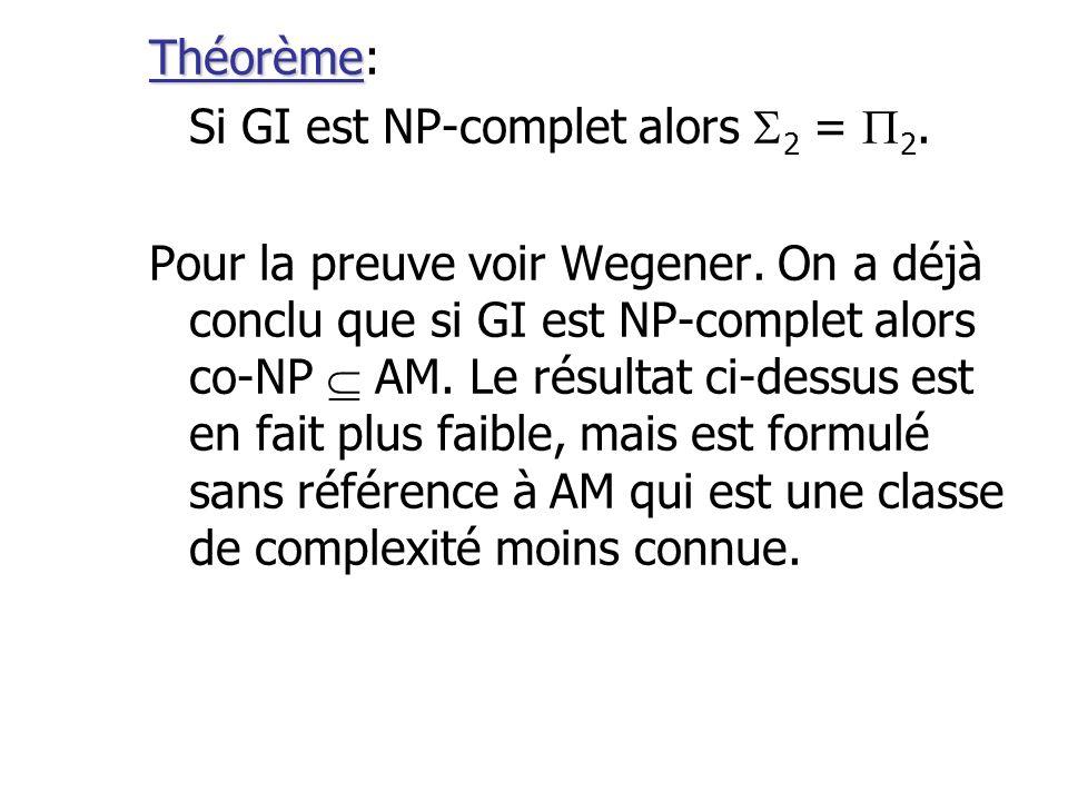 Théorème: Si GI est NP-complet alors 2 = 2.