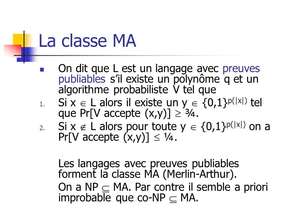 La classe MA On dit que L est un langage avec preuves publiables s'il existe un polynôme q et un algorithme probabiliste V tel que.