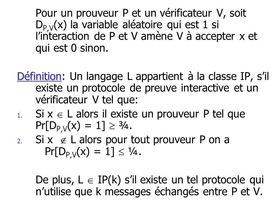 Pour un prouveur P et un vérificateur V, soit DP,V(x) la variable aléatoire qui est 1 si l'interaction de P et V amène V à accepter x et qui est 0 sinon.