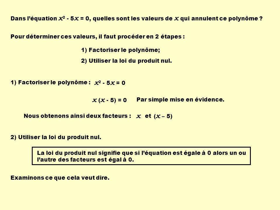 Dans l'équation x2 - 5x = 0, quelles sont les valeurs de x qui annulent ce polynôme