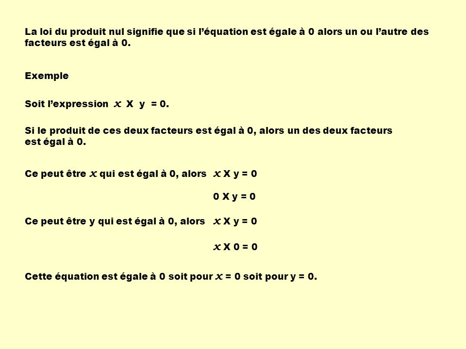La loi du produit nul signifie que si l'équation est égale à 0 alors un ou l'autre des facteurs est égal à 0.