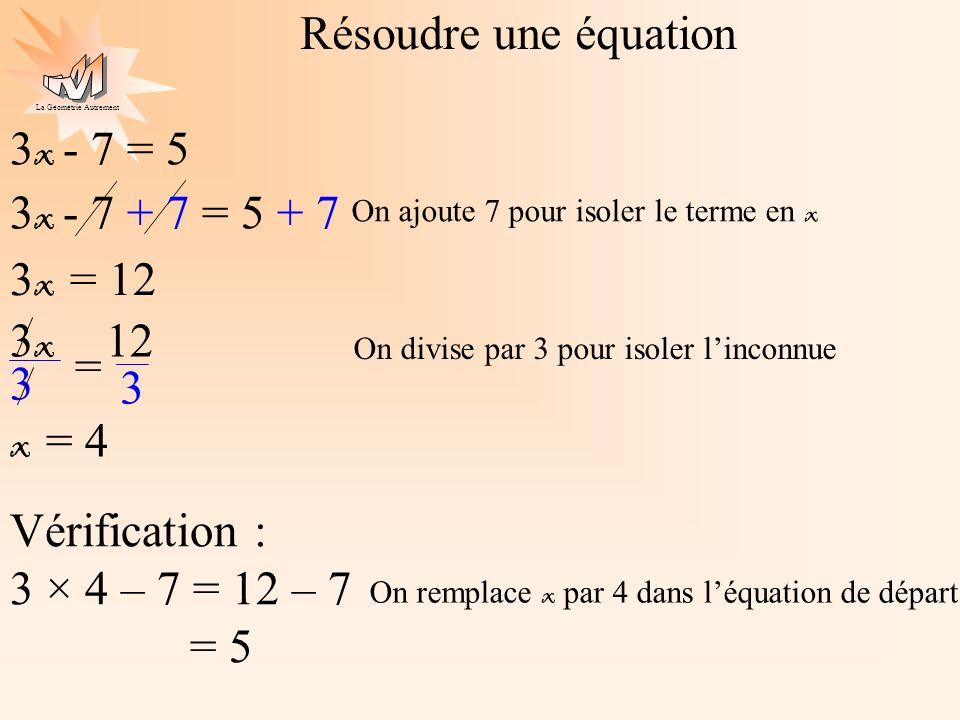 Résoudre une équation 3x - 7 = 5 3x - 7 + 7 = 5 + 7 3x = 12 3x 12 = 3
